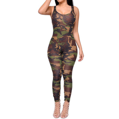 Sleeveless Army Camouflage Printed Jumpsuit Bodysuit Overall Sportsuit -