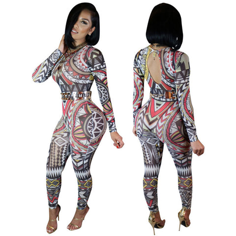 Chic Long Sleeve Tight Print Jumpsuit Backless Bodysuit -  - 2