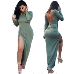 Backless Slit Long Sleeve Maxi Dress -  - 1