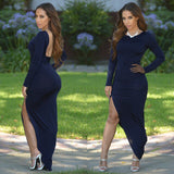 Backless Slit Long Sleeve Maxi Dress -  - 6