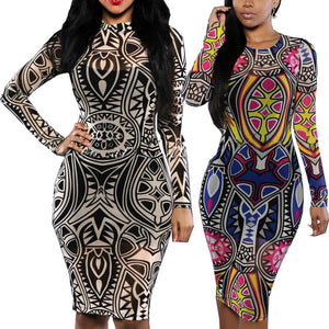 Tribal Tattoo Sheer Print Long Sleeve Party Dress -  - 1