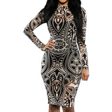 Tribal Tattoo Sheer Print Long Sleeve Party Dress -  - 2