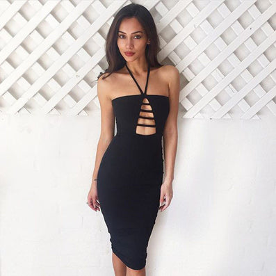 Cut Out Bandage Spring Summer Dress Strapless Pencil -  - 2