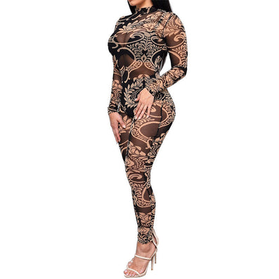 Floral Printed Sheer Mesh Jumpsuit Bodysuit -  - 2