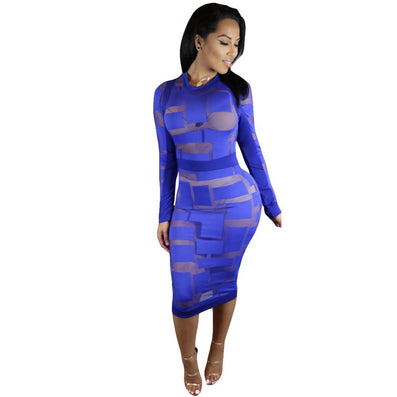 Patchwork Mesh Slim Bandage Club Dress -  - 2
