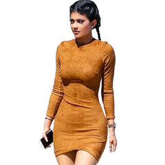 Kylie Jenner Style Faux Suede Party Dress Long Sleeve Tunic - CELEBRITYSTYLEFASHION.COM.AU - 1