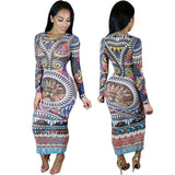 Vintage Long Sleeve Print Midi Length Dress - CELEBRITYSTYLEFASHION.COM.AU