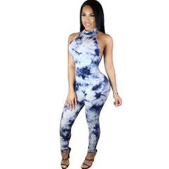 Backless Halter Jumpsuit Printed Bodysuit -  - 1