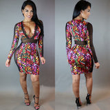 Summer Digital Printed Mesh Patchwork Vintage Baroque Style Deep V-Neck Bandage Party Dress -  - 2