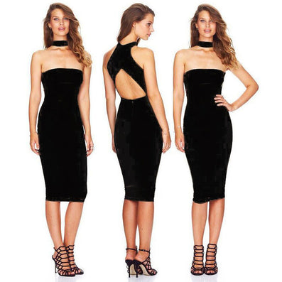 Sheath Dress Backless Slim Dress - CELEBRITYSTYLEFASHION.COM.AU - 2