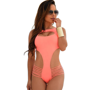 Swimwear Backless Cut Out Stripe One Piece Swimsuit Kim Kardashian Style -  - 1