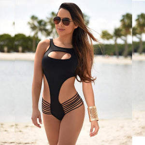 Swimwear Backless Cut Out Stripe One Piece Swimsuit Kim Kardashian Style -  - 2