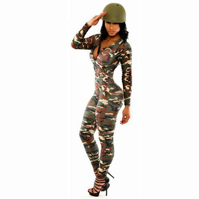 High Waist Camouflage Skinny Jumpsuit Bodysuit Overalls Sportsuit -