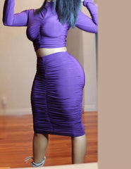 Two Piece Pleated Party Purple High Waist Dress -