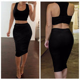 Two Piece Outfit Bandage Sleeveless Sexy Club Party Dress Kylie Jenner Style -  - 5