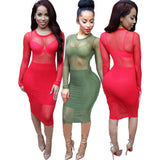 Mesh Sheer Party Knee Length Bandage Lace Dress Kim Kardashian Style -  - 1