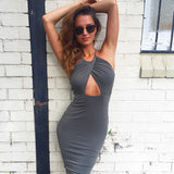 Backless Halter Bandage Sleeveless Pencil Dress -  - 4