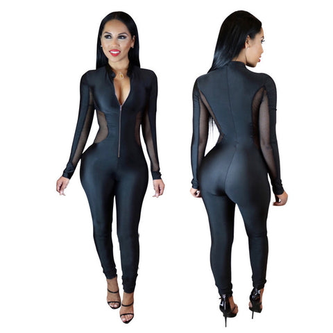 Stretch Black Mesh Sheer Patchwork Turtleneck Jumpsuit -  - 2