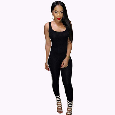 Sleeveless Backless Skinny Jumpsuit Bodysuit Overalls Sportsuit - CELEBRITYSTYLEFASHION.COM.AU - 2