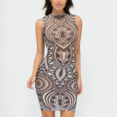 Geometric Vintage Tribal Printed Dress - CELEBRITYSTYLEFASHION.COM.AU - 2