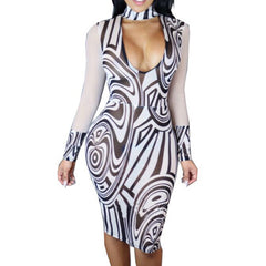 Long Sleeve Mesh Printed Bandage Stretch Party Dress -