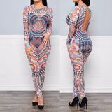 Sheer Mesh Aztec Tribal Printed Backless Jumpsuit -  - 2