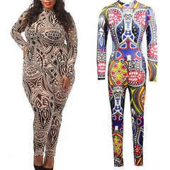 Plus Size Tribal Tattoo Printing Mesh Long Sleeve Bodysuit Celebrity Catsuit Playsuit - CELEBRITYSTYLEFASHION.COM.AU - 1