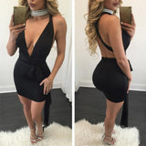 Cross Deep V-neck Backless Sleeveless Dress - CELEBRITYSTYLEFASHION.COM.AU - 2