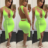 Cross Deep V-neck Backless Sleeveless Dress - CELEBRITYSTYLEFASHION.COM.AU - 5