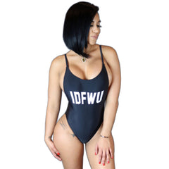 Letter Printed Backless IDFWU Swimsuit Swimwear -  - 1