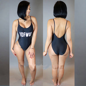 Letter Printed Backless IDFWU Swimsuit Swimwear -  - 2