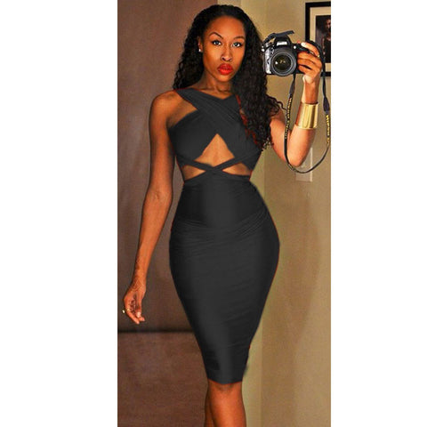 Front Cross Strapless Party High Waist Sleeveless Bandage Dress - CELEBRITYSTYLEFASHION.COM.AU - 2