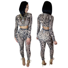 Two Pieces Outfit Celebrity Bodysuit Long Sleeve High Waisted Pant - CELEBRITYSTYLEFASHION.COM.AU