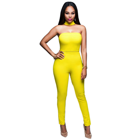 Jumpsuit Strapless Bodysuit Black Yellow Skinny Long Pants Night Club - CELEBRITYSTYLEFASHION.COM.AU - 1