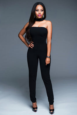 Jumpsuit Strapless Bodysuit Black Yellow Skinny Long Pants Night Club - CELEBRITYSTYLEFASHION.COM.AU - 2