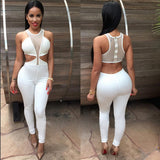 Stretch Mesh Sheer Overall Backless Patchwork O-neck Jumpsuit - CELEBRITYSTYLEFASHION.COM.AU - 3