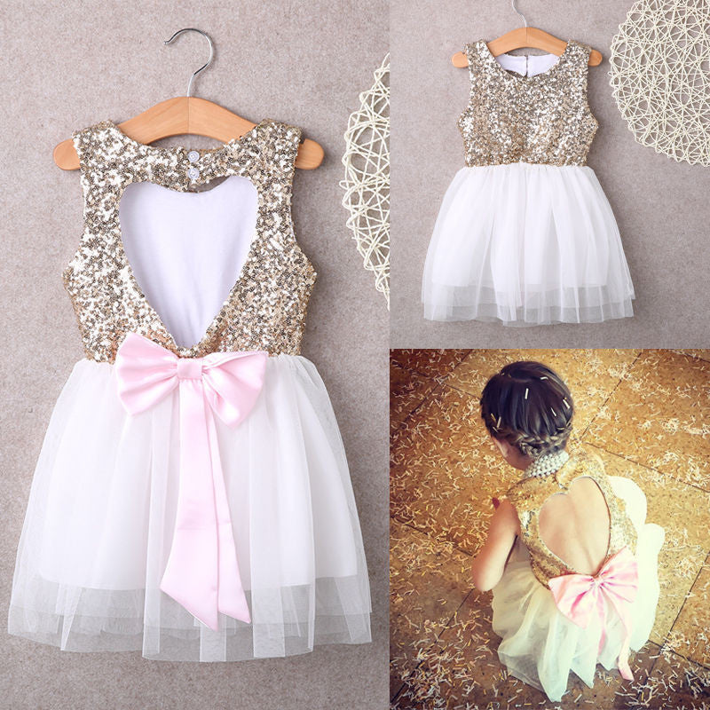 White / 3T3-10Y Children Baby Girl Dress Clothing Sequins Party Gown Mini Ball Formal Love Backless Princess Bow Backless Gown Dress Girl