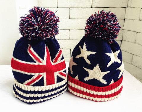 Kids children winter warm hats boys and girls knitted wool puffer Ball hats cap Star design - CelebritystyleFashion.com.au online clothing shop australia