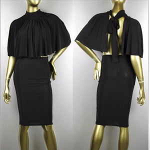 Two Piece Outfit Cloak Top Backless Bandage Party Dress - CELEBRITYSTYLEFASHION.COM.AU - 1