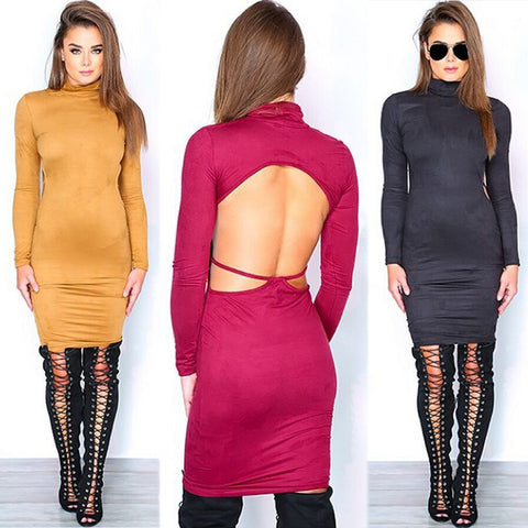 Stretch Backless Bandage Faux Suede Elegant Party Dress Kylie Jenner Style - CELEBRITYSTYLEFASHION.COM.AU - 1