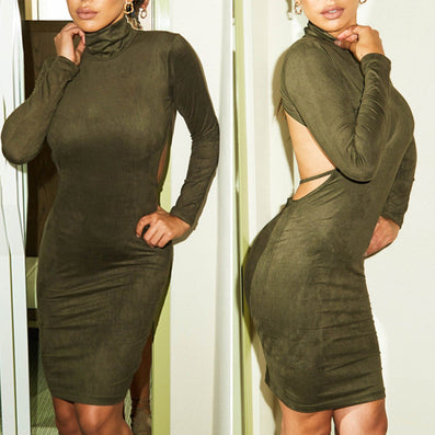 Stretch Backless Bandage Faux Suede Elegant Party Dress Kylie Jenner Style - CELEBRITYSTYLEFASHION.COM.AU - 2
