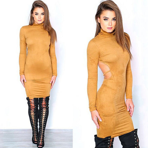 Stretch Backless Bandage Faux Suede Elegant Party Dress Kylie Jenner Style - CELEBRITYSTYLEFASHION.COM.AU - 4