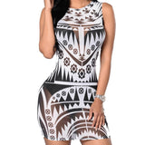 Tribal Print Aztec Sheer Mesh Geometric Mini Dress - CELEBRITYSTYLEFASHION.COM.AU - 1
