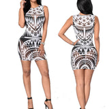 Tribal Print Aztec Sheer Mesh Geometric Mini Dress - CELEBRITYSTYLEFASHION.COM.AU - 2