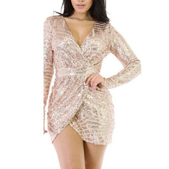 Geometric Luxury Sequins Deep Plunge Wrap Dress Mini Casual Party Dress - CELEBRITYSTYLEFASHION.COM.AU - 1