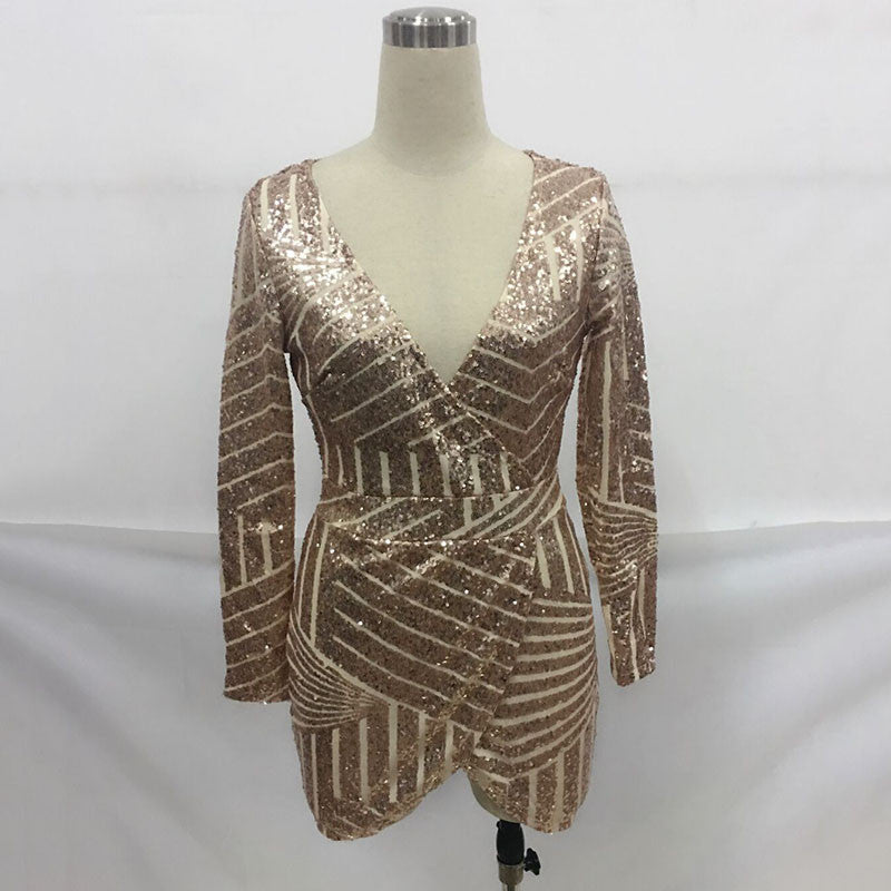 Geometric Luxury Sequins Deep Plunge Wrap Dress Mini Casual Party Dress - CELEBRITYSTYLEFASHION.COM.AU - 2