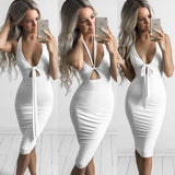 Deep V Neck Sleeveless Slim Party Dress - CELEBRITYSTYLEFASHION.COM.AU - 3