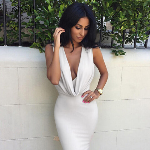 Deep V-neck Sleeveless Bandage Dress - CELEBRITYSTYLEFASHION.COM.AU - 1