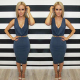 Deep V-neck Sleeveless Bandage Dress - CELEBRITYSTYLEFASHION.COM.AU - 2