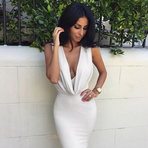 Deep V-neck Sleeveless Bandage Dress - CELEBRITYSTYLEFASHION.COM.AU - 6
